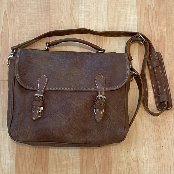 Roots Vintage Tribe Leather Crossbody Book Bag